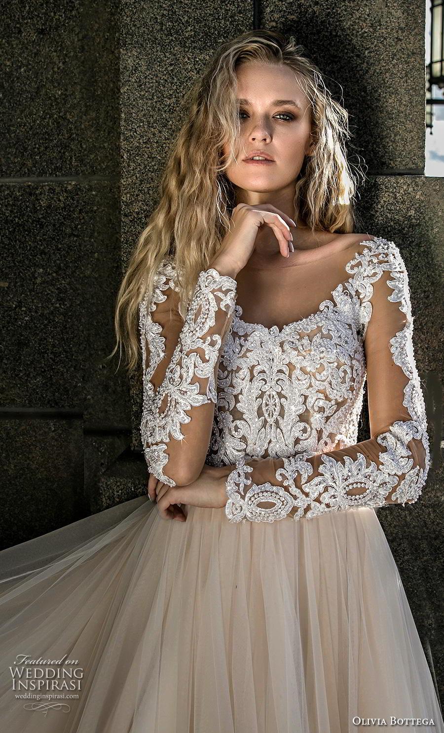 olivia bottega 2019 bridal long sleeves illusion bateau scoop neckline heavily embellished bodice hem tulle skirt glamorous ivory a  line wedding dress chapel train (15) zv