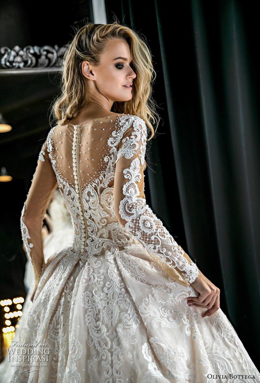 olivia bottega 2019 bridal long sleeves illusion bateau sweetheart neckline full embellishment romantic princess ball gown a  line wedding dress button lace back royal train (1) bv mv