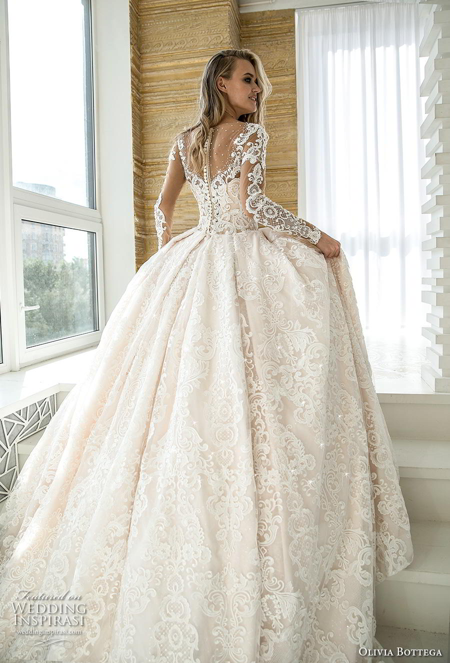 olivia bottega 2019 bridal long sleeves illusion bateau sweetheart neckline full embellishment romantic princess ball gown a  line wedding dress button lace back royal train (1) bv
