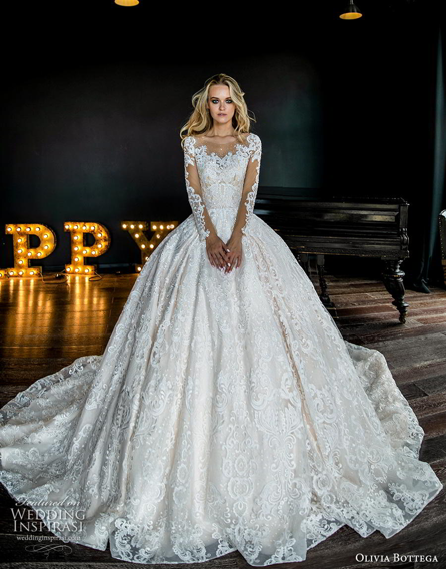 olivia bottega 2019 bridal long sleeves illusion bateau sweetheart neckline full embellishment romantic princess ball gown a  line wedding dress button lace back royal train (1) fv mv