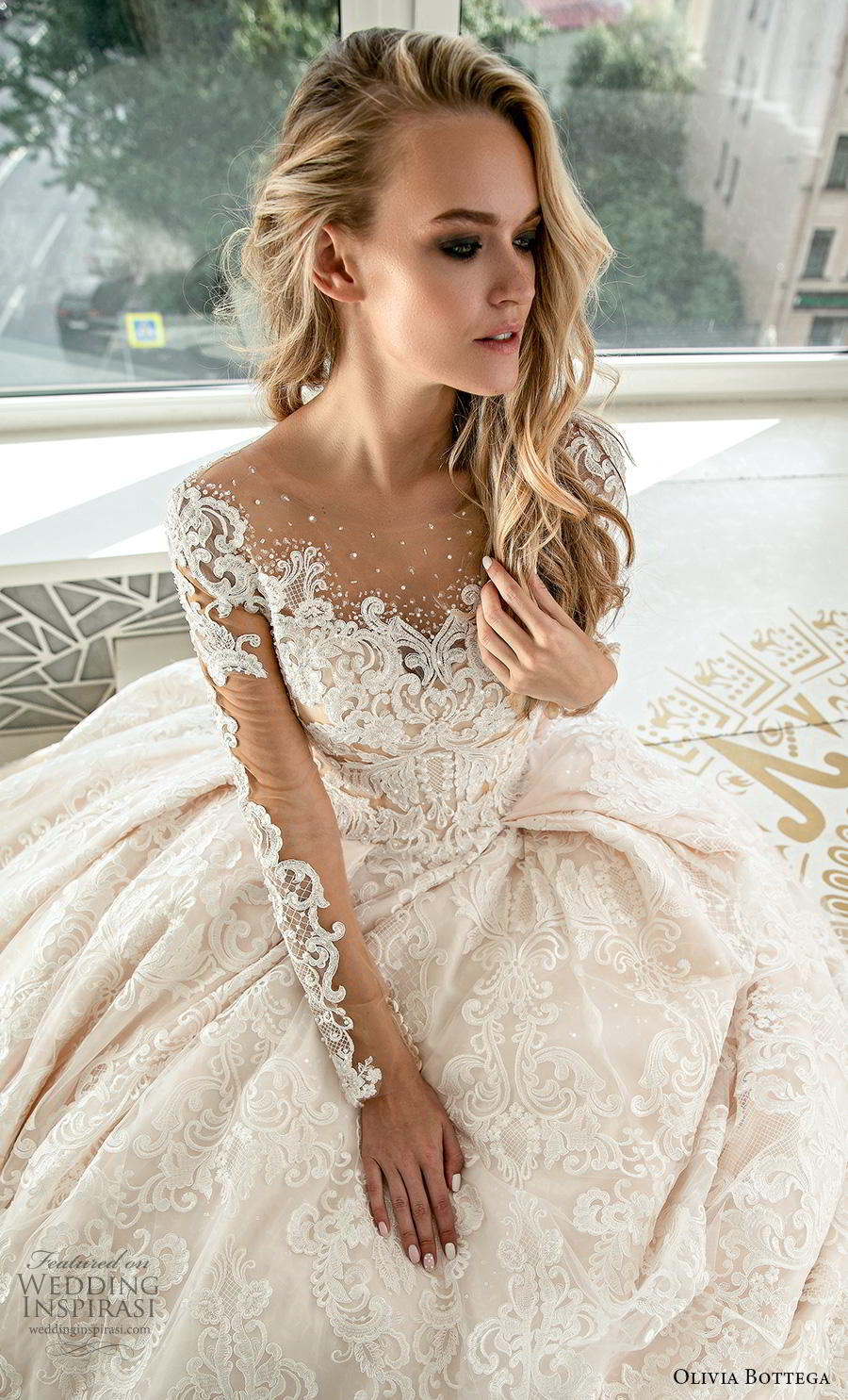 olivia bottega 2019 bridal long sleeves illusion bateau sweetheart neckline full embellishment romantic princess ball gown a  line wedding dress button lace back royal train (1) zv
