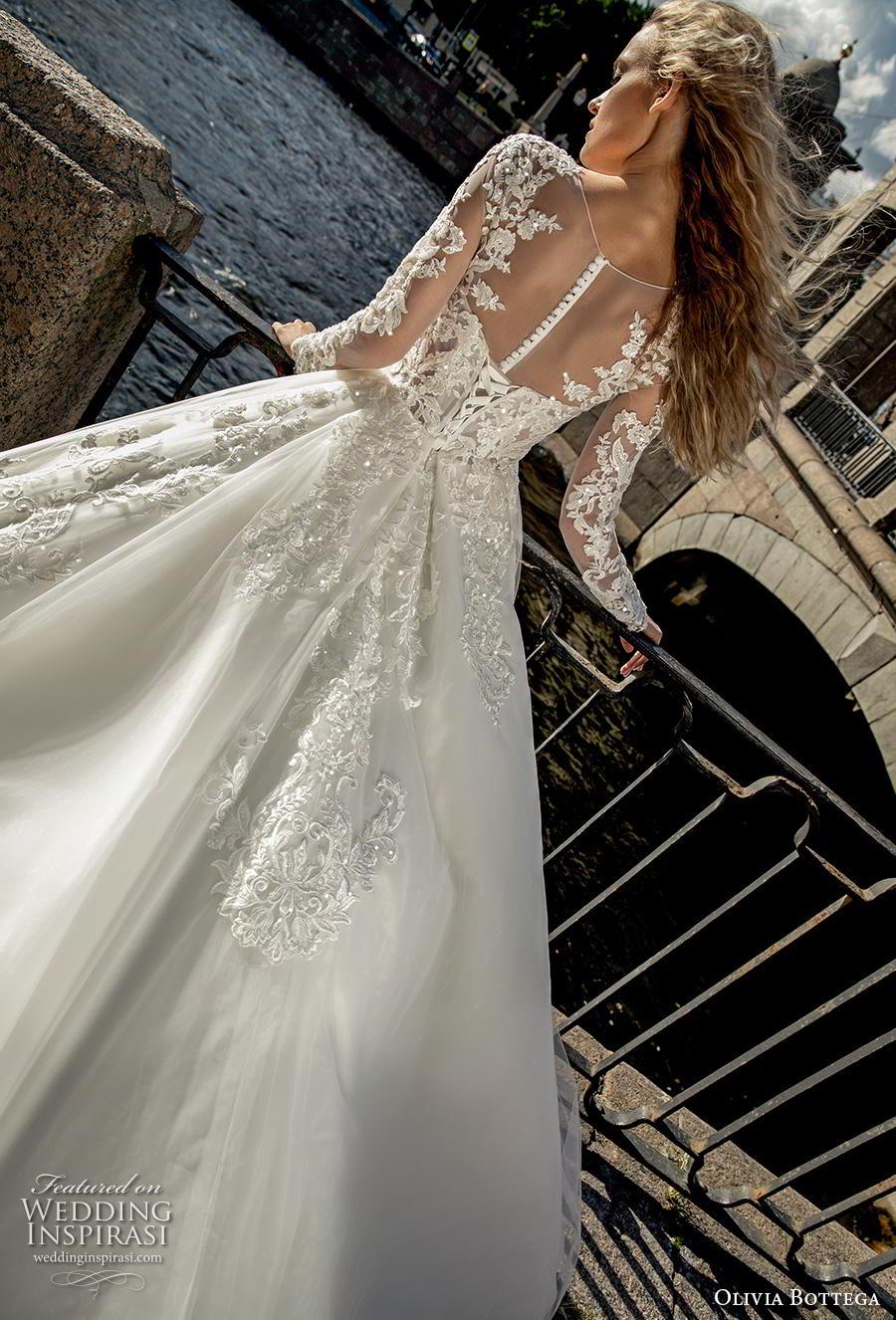 olivia bottega 2019 bridal long sleeves illusion bateau sweetheart neckline heavily embellished bodice romantic elegant a  line wedding dress sheer button back chapel train (9) bv