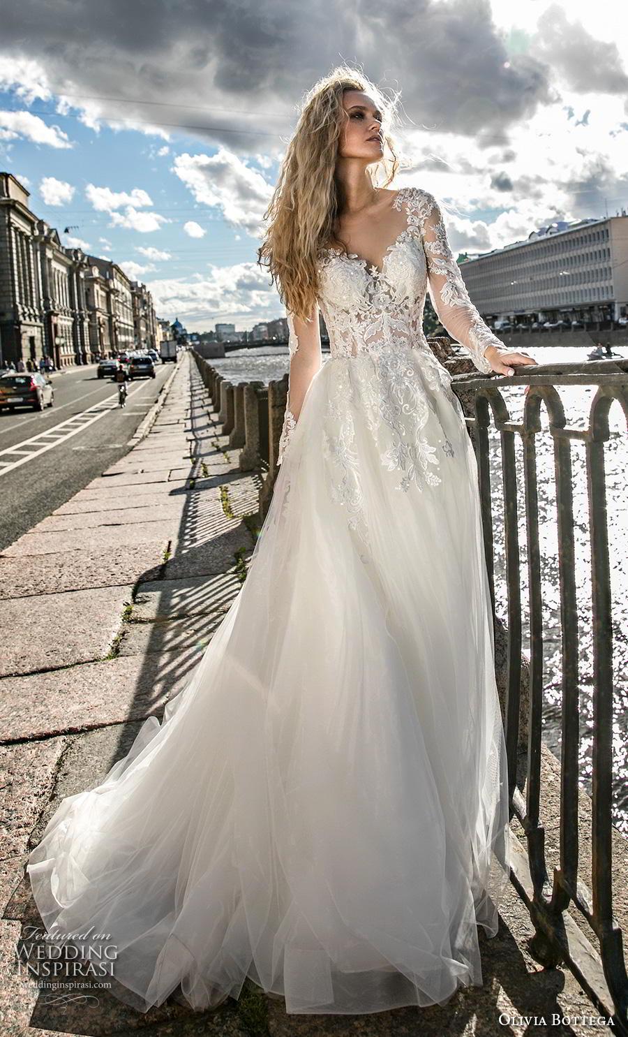 olivia bottega 2019 bridal long sleeves illusion bateau sweetheart neckline heavily embellished bodice romantic elegant a  line wedding dress sheer button back chapel train (9) mv