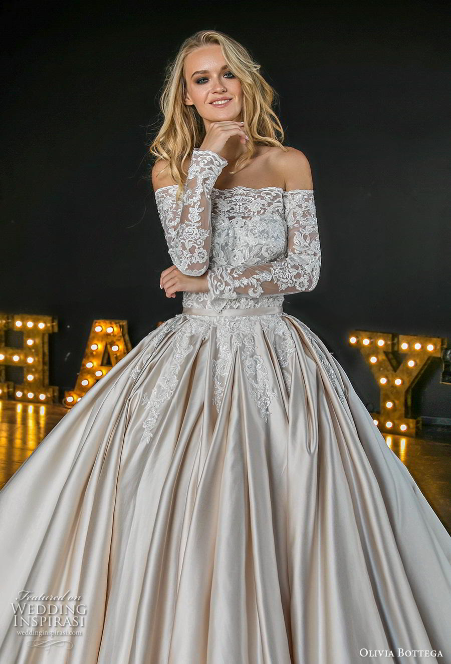 899a13b5274f5 olivia bottega 2019 bridal long sleeves off shoulder straight across  neckline heavily embellished bodice ball gown