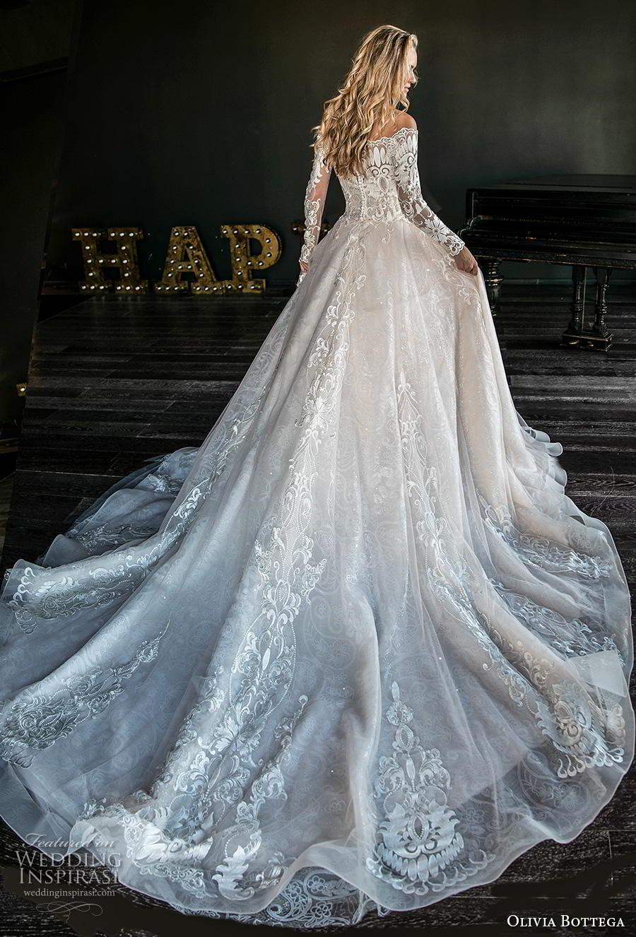 olivia bottega 2019 bridal long sleeves off the shoulder heavily embellished bodice hem princess romantic ball gown a  line wedding dress covered back royal train (13) bv mv