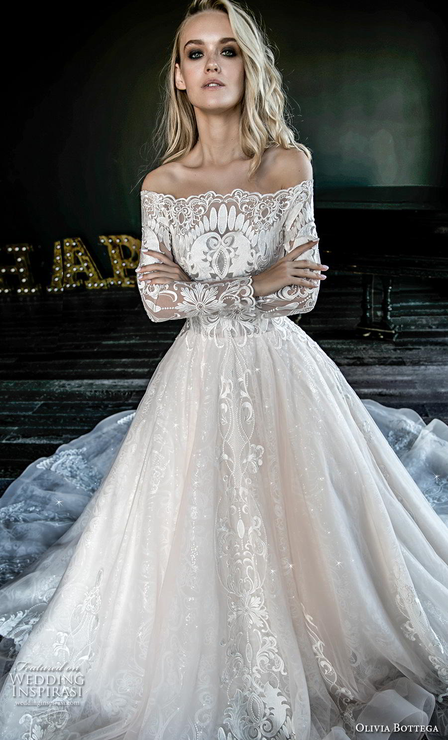 olivia bottega 2019 bridal long sleeves off the shoulder heavily embellished bodice hem princess romantic ball gown a  line wedding dress covered back royal train (13) zv
