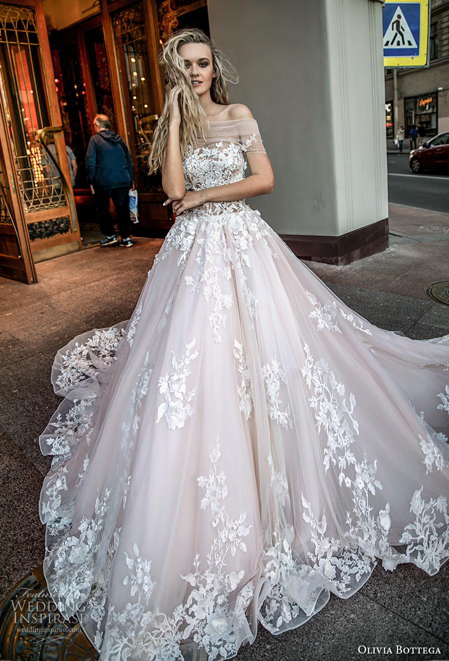 olivia bottega 2019 bridal off the shoulder sheer straight across neckline full embellishment romantic blush ball gown a  line wedding dress royal train (14) mv
