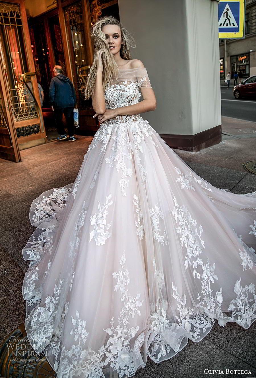 olivia bottega 2019 bridal off the shoulder sheer straight across neckline full embellishment romantic blush ball gown a  line wedding dress royal train (14) mv