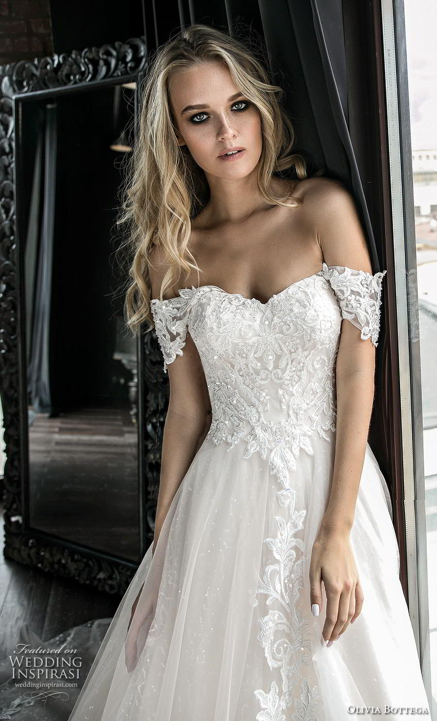 olivia bottega 2019 bridal short sleeves off the shoulder sweetheart neckline heavily embellished bodice hem romantic a  line wedding dress chapel train (12) zv mv