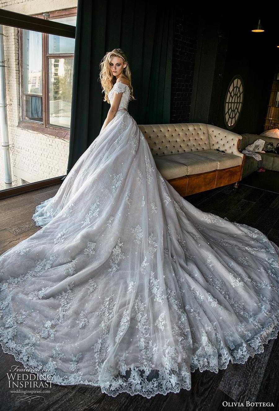 olivia bottega 2019 bridal short sleeves off the shoulder sweetheart neckline heavily embellished bodice hem romantic princess a  line wedding dress royal train (5) bv mv