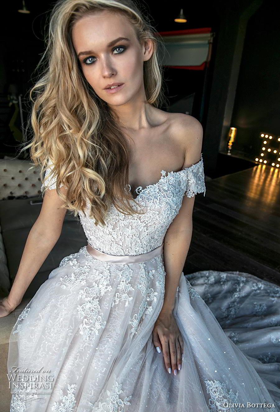 olivia bottega 2019 bridal short sleeves off the shoulder sweetheart neckline heavily embellished bodice hem romantic princess a  line wedding dress royal train (5) zv