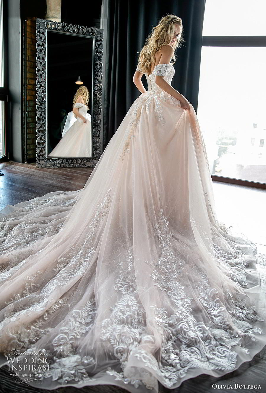 olivia bottega 2019 bridal short sleeves off the shoulder sweetheart neckline heavily embellished bodice romantic blush ball gown a  line wedding dress royal train (2) bv