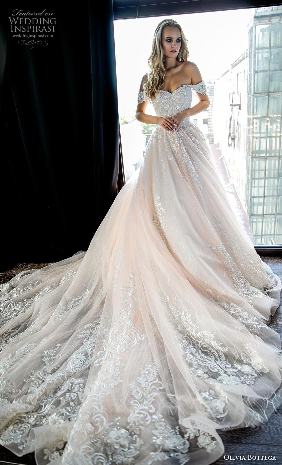 olivia bottega 2019 bridal short sleeves off the shoulder sweetheart neckline heavily embellished bodice romantic blush ball gown a  line wedding dress royal train (2) mv
