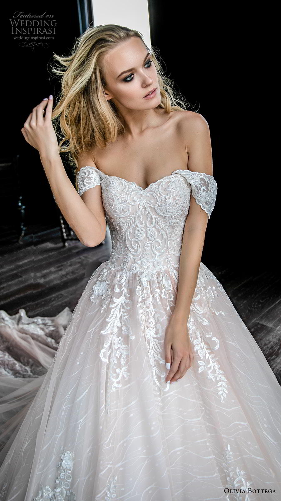 olivia bottega 2019 bridal short sleeves off the shoulder sweetheart neckline heavily embellished bodice romantic blush ball gown a  line wedding dress royal train (2) zv