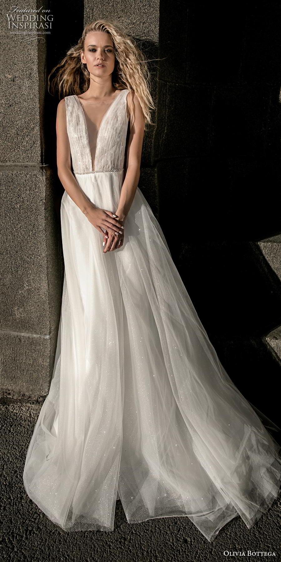 olivia bottega 2019 bridal sleeveless illusion bateau deep plunging v neck ruched bodice tulle skirt romantic a  line wedding dress (3) mv