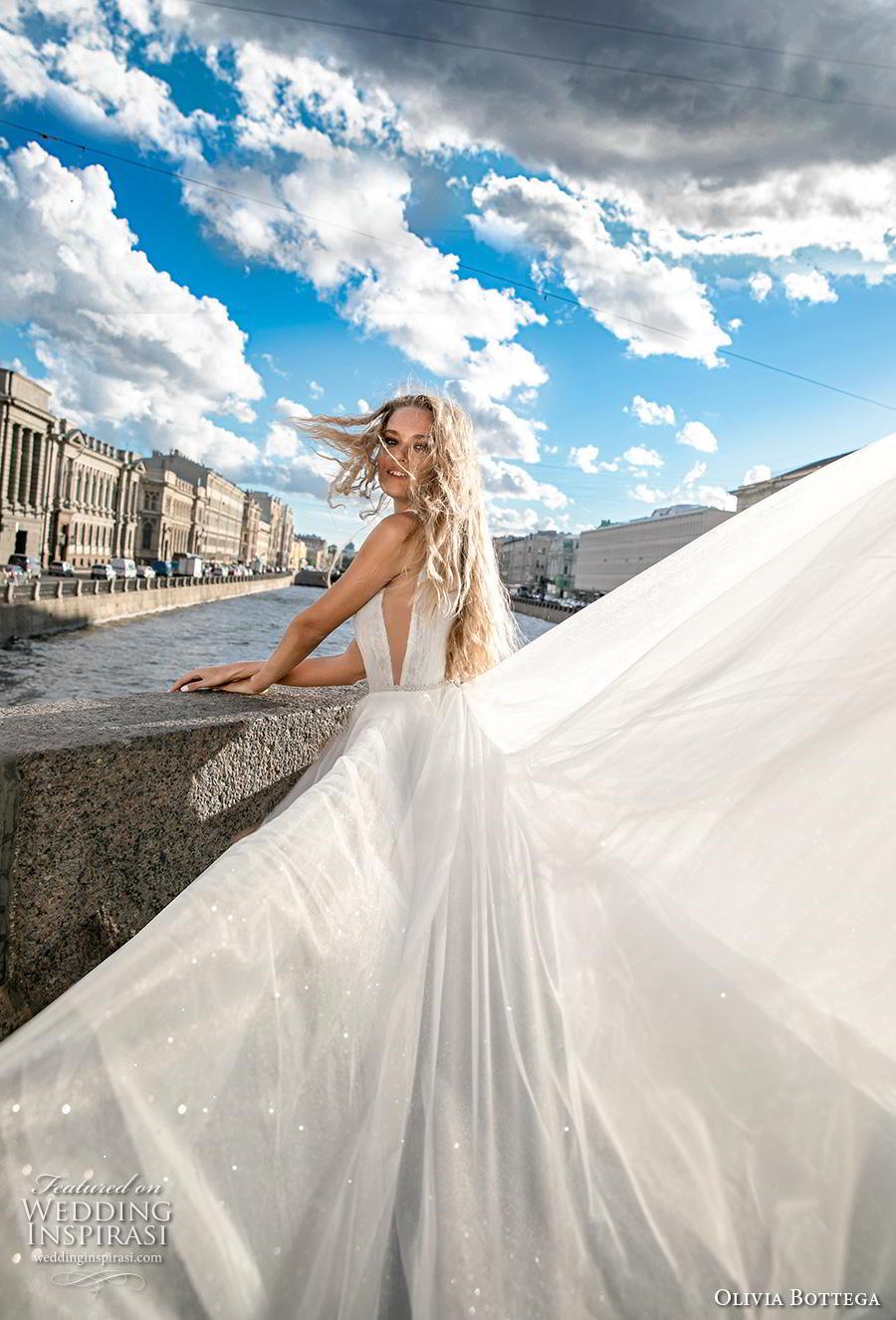 olivia bottega 2019 bridal sleeveless illusion bateau deep plunging v neck ruched bodice tulle skirt romantic a  line wedding dress (3) sdv