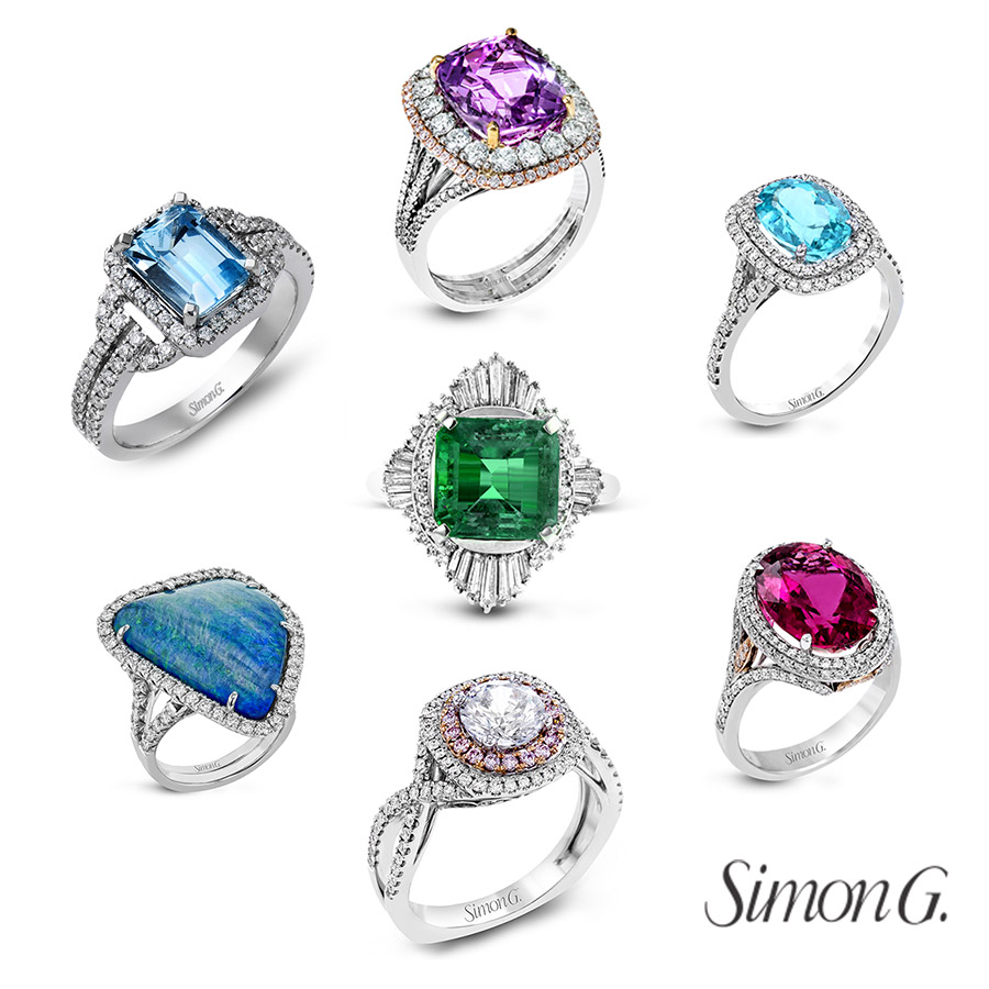 simon g jewelry 2018 committed colored diamond engament rings gemstones halo designs