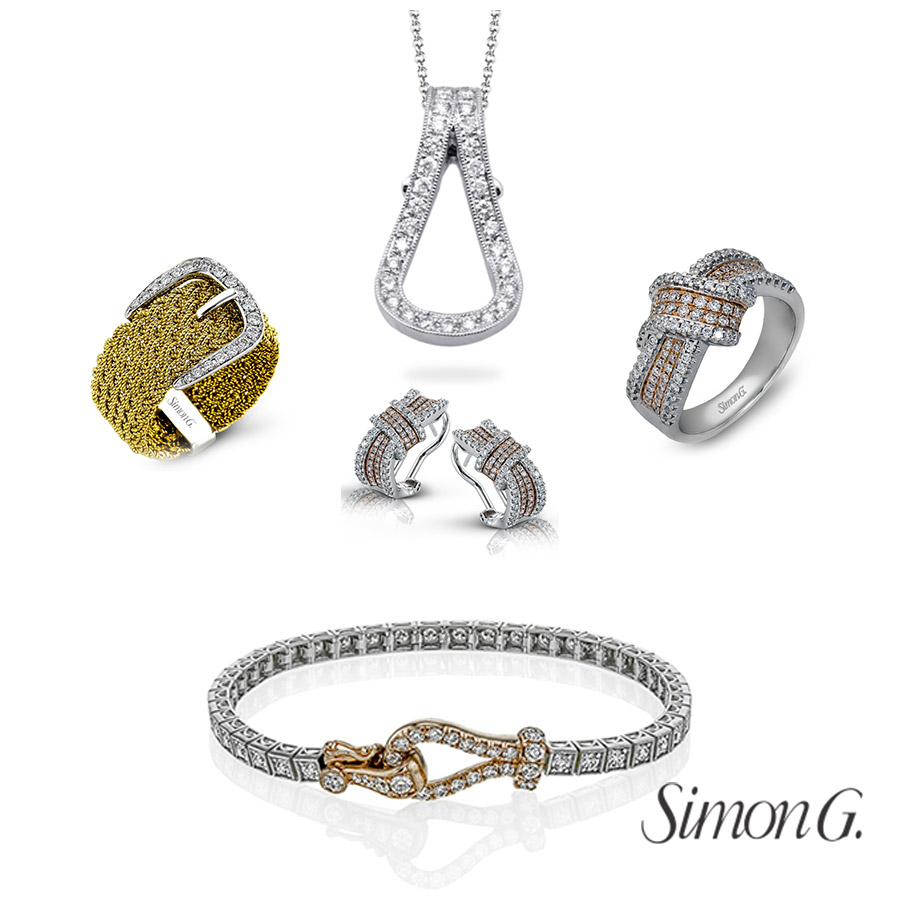 simon g jewelry 2018 committed diamonds white gold buckle collection pendant ring earrings bracelet