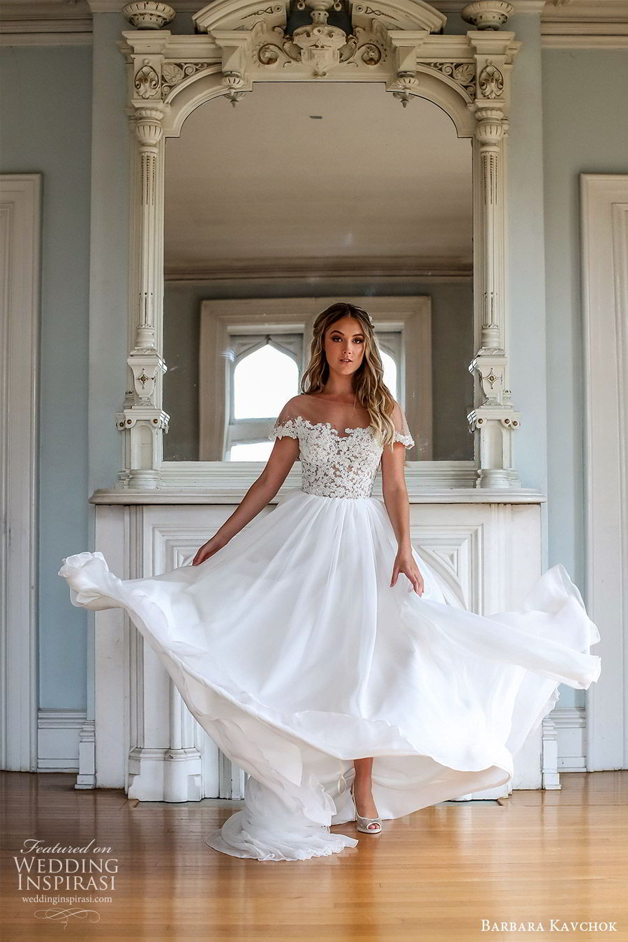 barbara kavchok fall 2019 bridal illusion bateau off shoulder embellished bodice soft a line wedding dress (2) mv chapel train romantic elegant