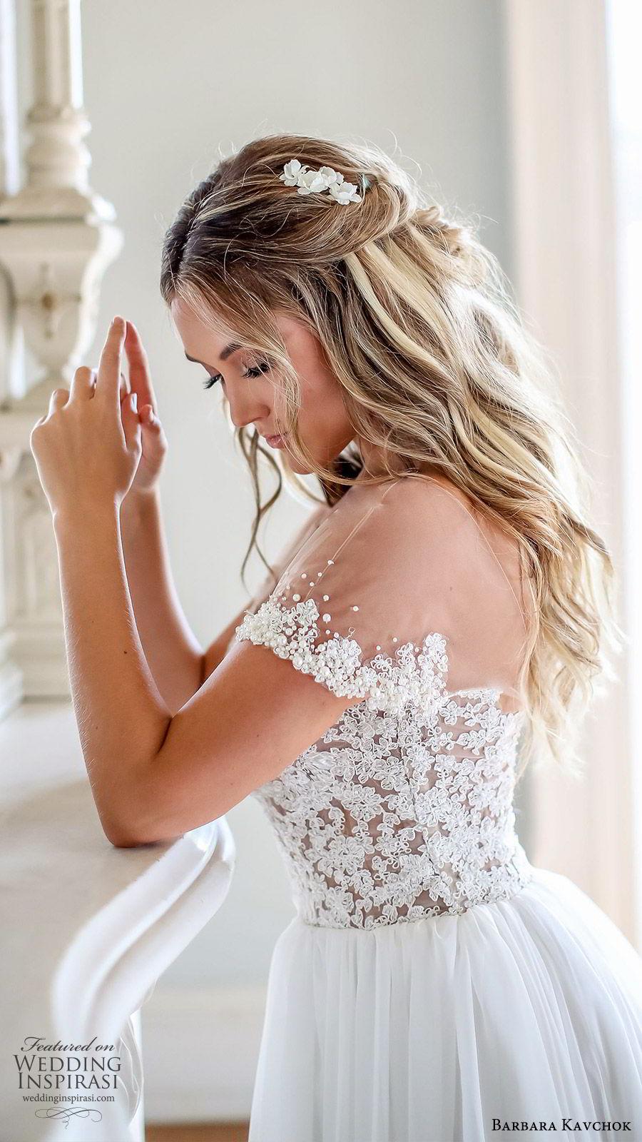 barbara kavchok fall 2019 bridal illusion bateau off shoulder embellished bodice soft a line wedding dress (2) zv chapel train romantic elegant