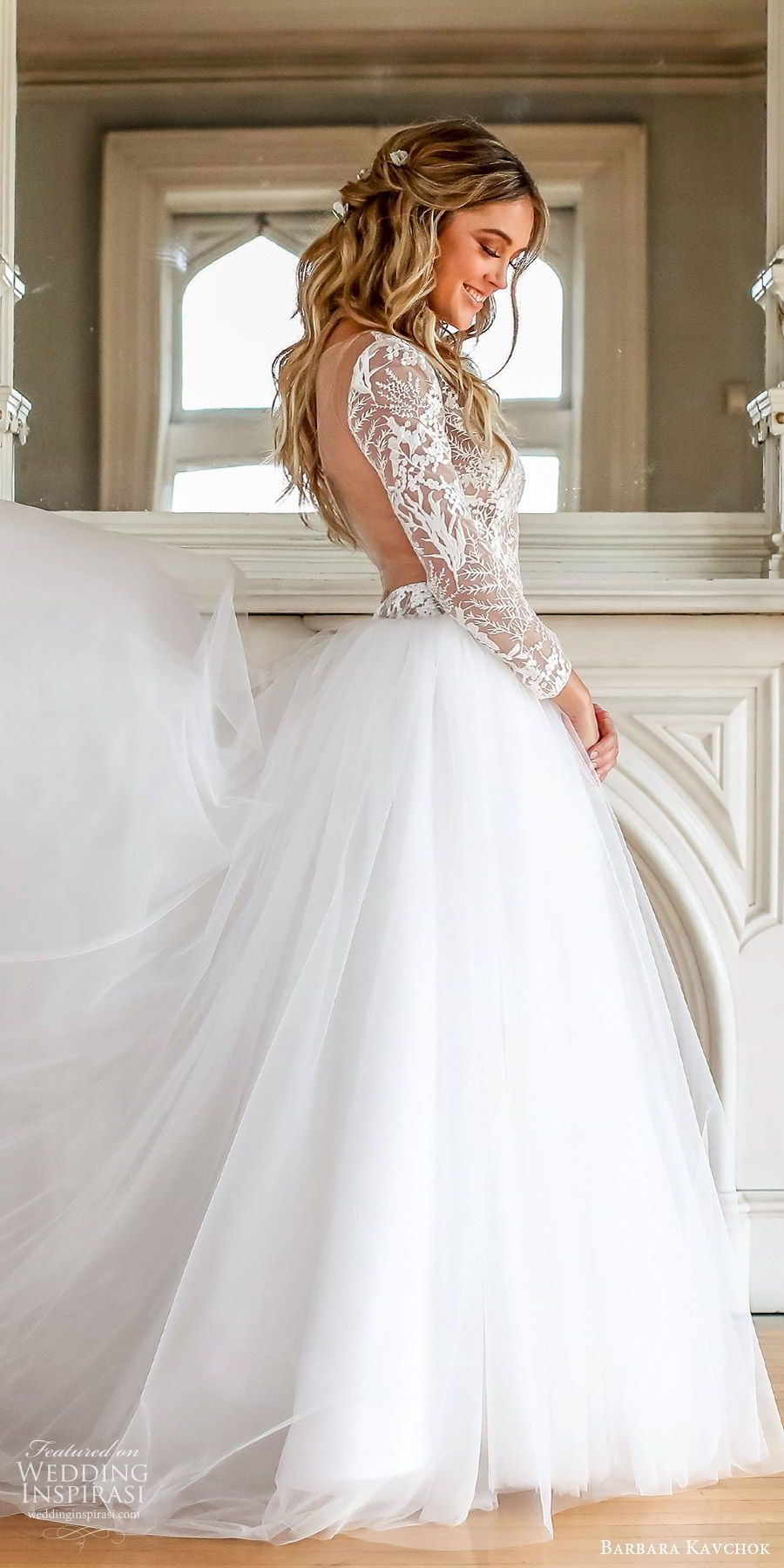 barbara kavchok fall 2019 bridal illusion long sleeves sheer lace bodice a line ball gown wedding dress (13) zsv open back chapel train classic romantic