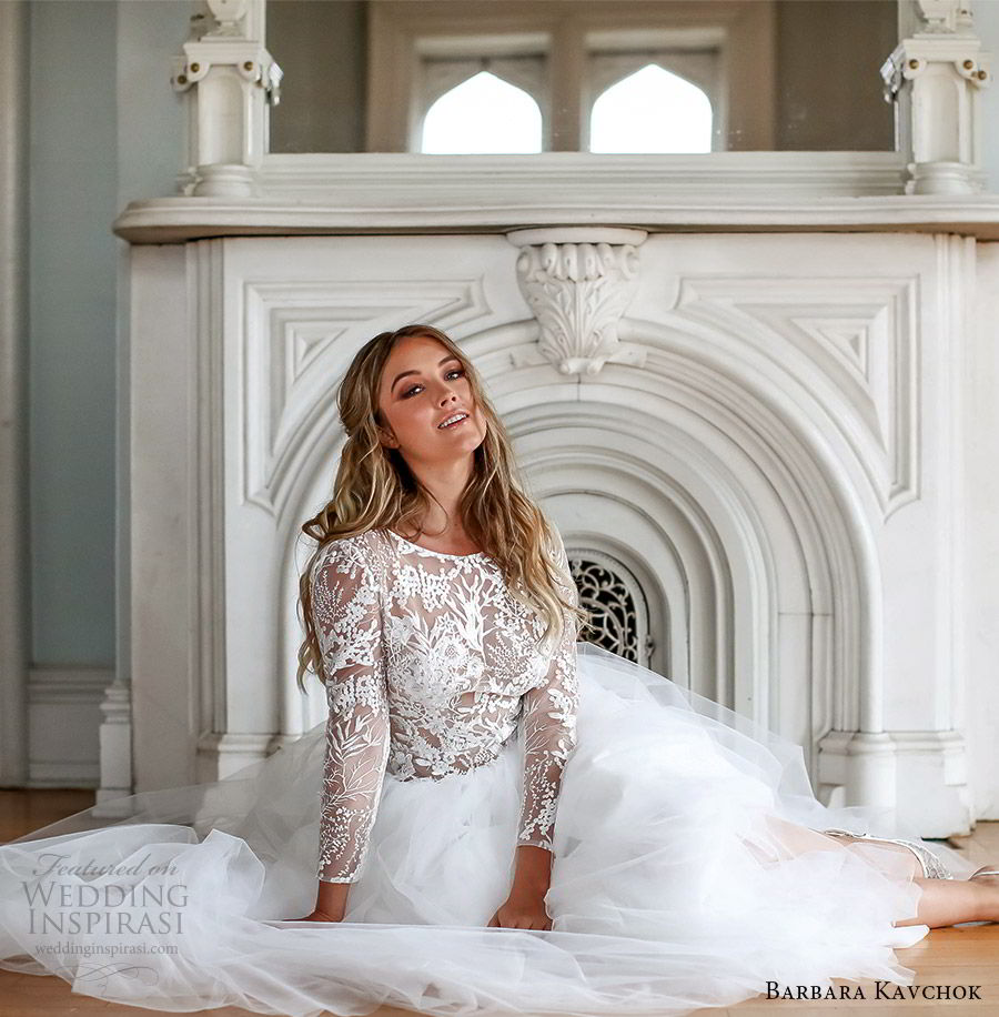 barbara kavchok fall 2019 bridal illusion long sleeves sheer lace bodice a line ball gown wedding dress (13) zv   illusion open back chapel train classic romantic