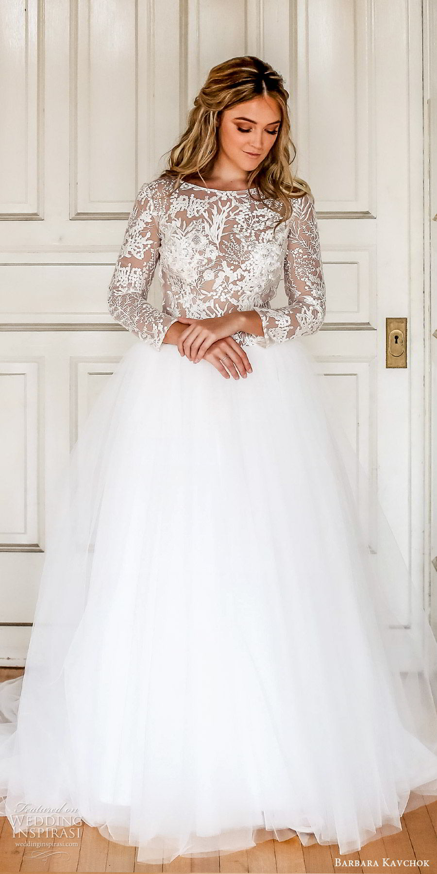 barbara kavchok fall 2019 bridal illusion long sleeves sheer lace bodice a line ball gown wedding dress (13) zv open back chapel train classic romantic