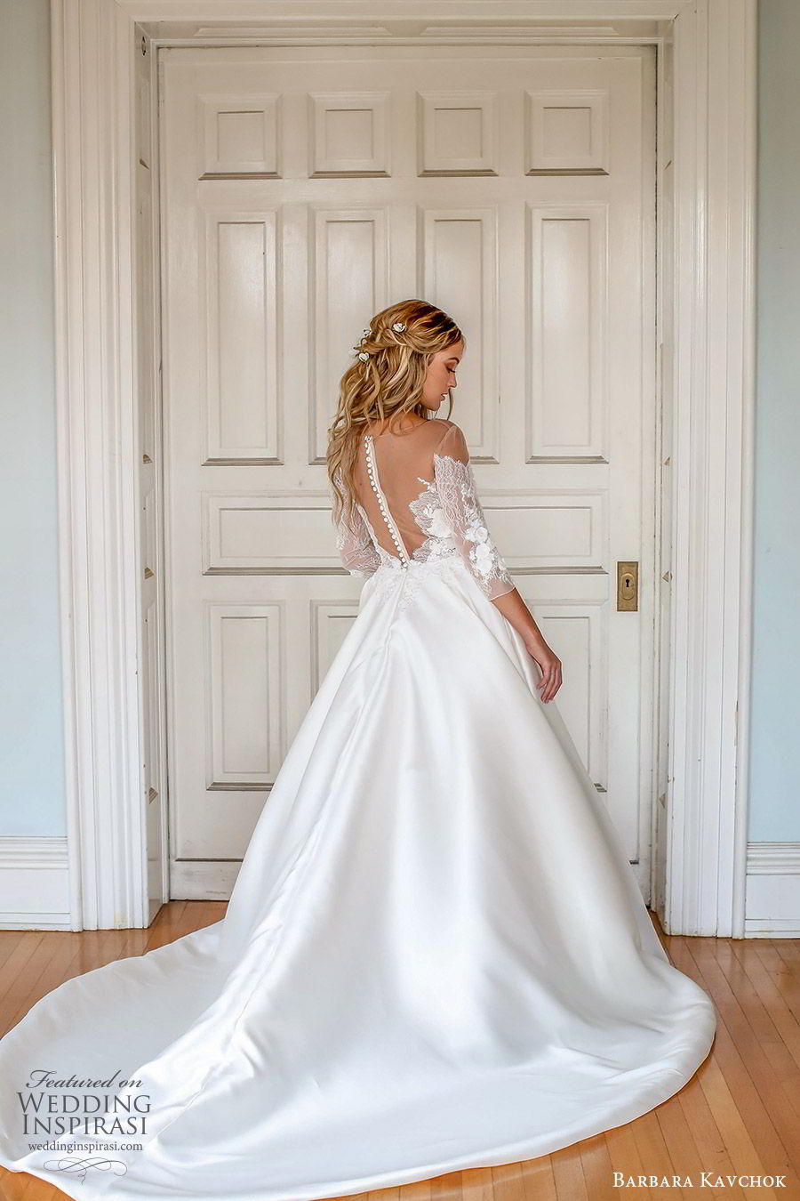 barbara kavchok fall 2019 bridal off shoulder 3 quarter sleeves sweetheart neckline illusion jewel embellished bodice a line ball gown (6) bv illusion back chapel train elegant classic romantic