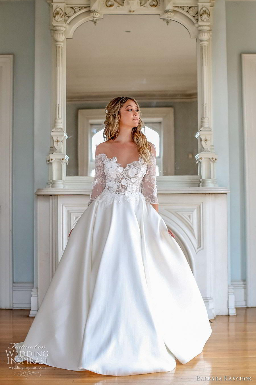 barbara kavchok fall 2019 bridal off shoulder 3 quarter sleeves sweetheart neckline illusion jewel embellished bodice a line ball gown (6) mv  chapel train elegant classic romantic