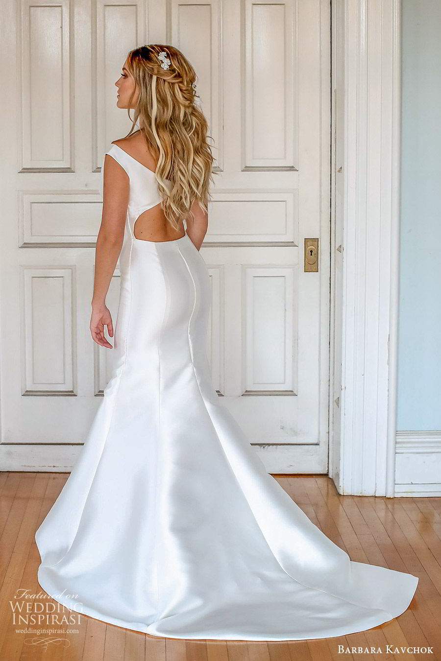 barbara kavchok fall 2019 bridal off shoulder cap sleeves scoop neck illusion cutout fit flare wedding dress (5) bv cutout back chapel train classic minimal clean