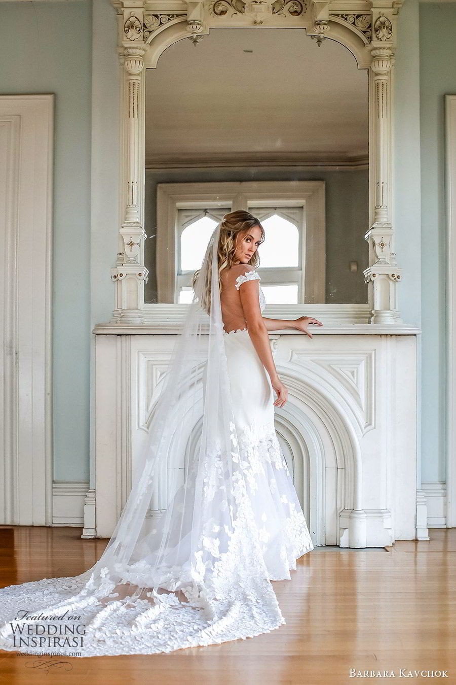 barbara kavchok fall 2019 bridal off shoulder illusion bateau embellished bodice sheer cutout fit flare mermaid wedding dress (11) bv sheer back chapel train veil romantic elegant