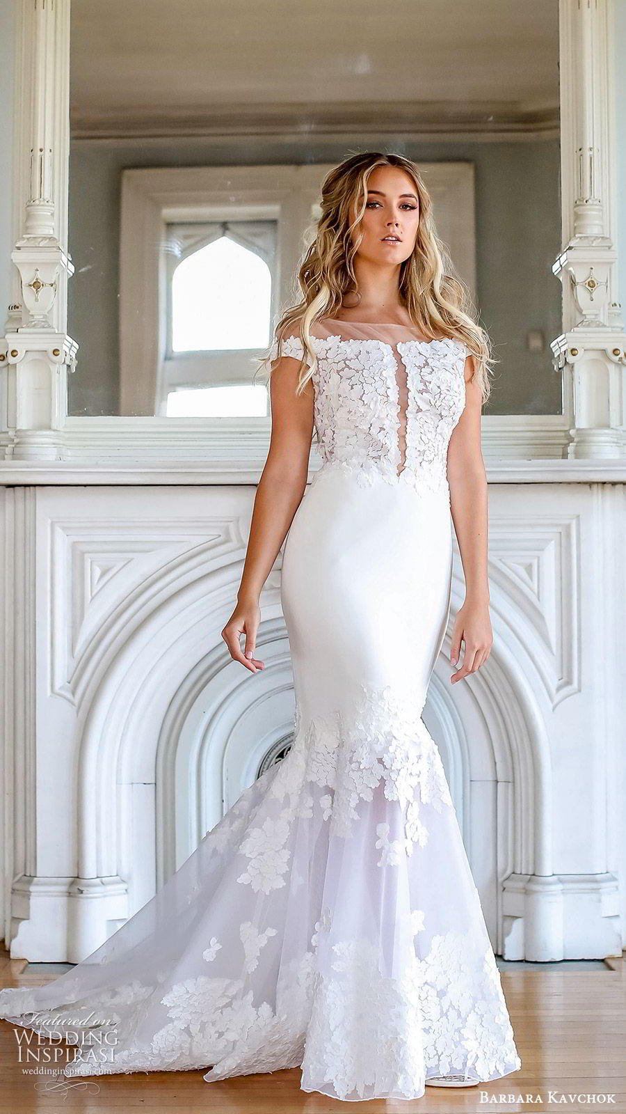 barbara kavchok fall 2019 bridal off shoulder illusion bateau embellished bodice sheer cutout fit flare mermaid wedding dress (11) mv  chapel train elegant