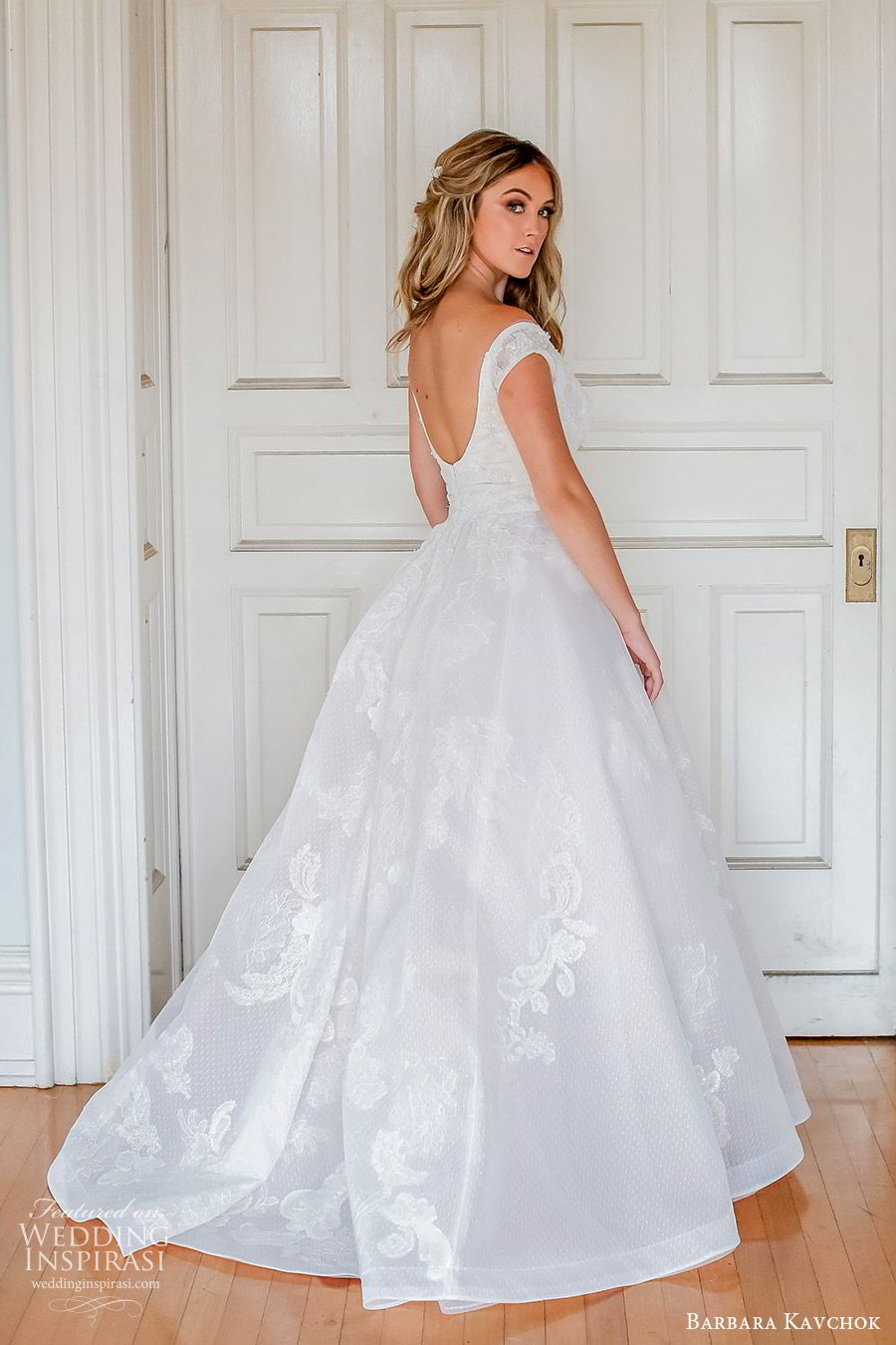 barbara kavchok fall 2019 bridal off shoulder sweetheart embellished lace a line ball gown wedding dress (4) bv scoop back chapel train elegant princess romantic
