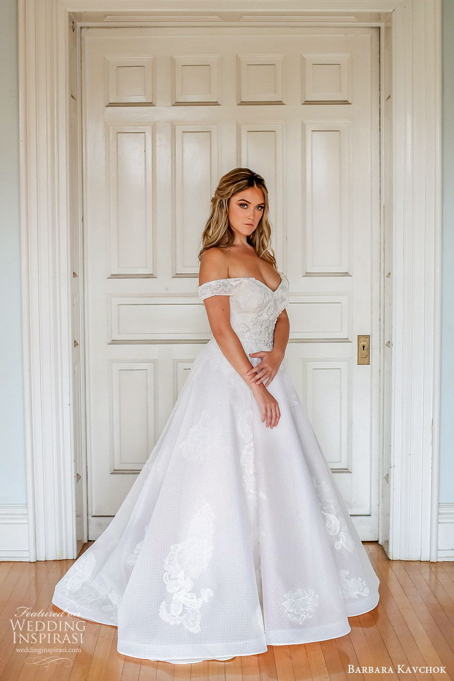 barbara kavchok fall 2019 bridal off shoulder sweetheart embellished lace a line ball gown wedding dress (4) mv scoop back chapel train elegant princess romantic