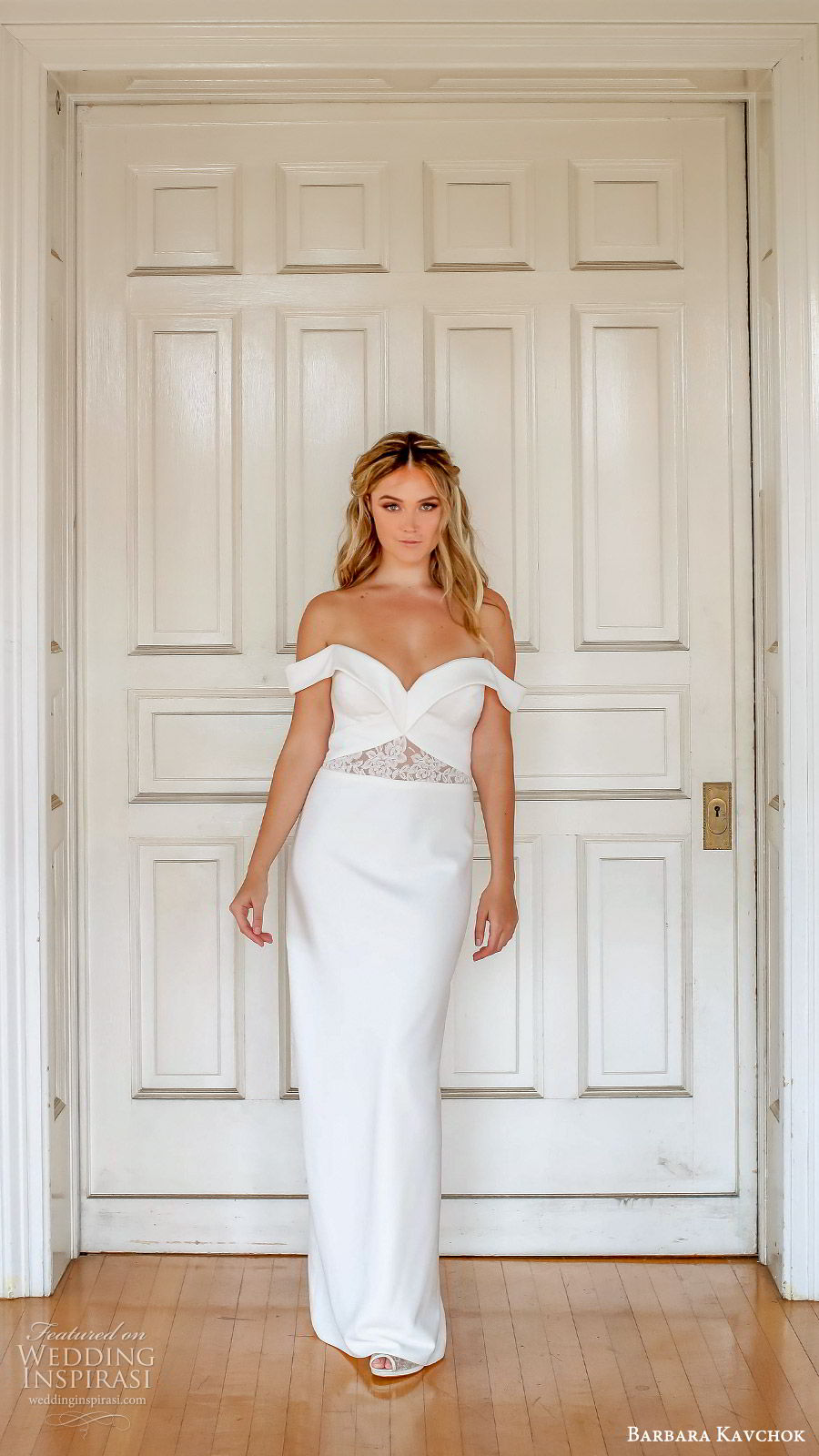 barbara kavchok fall 2019 bridal off shoulder sweetheart sheer cutout embellished bodice column wedding dress (8) mv slit back elegant modern minimal