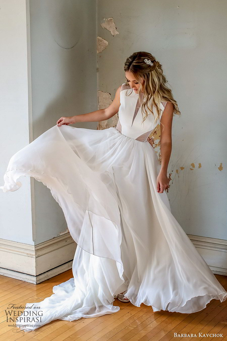 barbara kavchok fall 2019 bridal sleeveless bateau neckline sheer side cutouts soft a line ball gown wedding dress (10) mv sheer back chapel train minimal modern