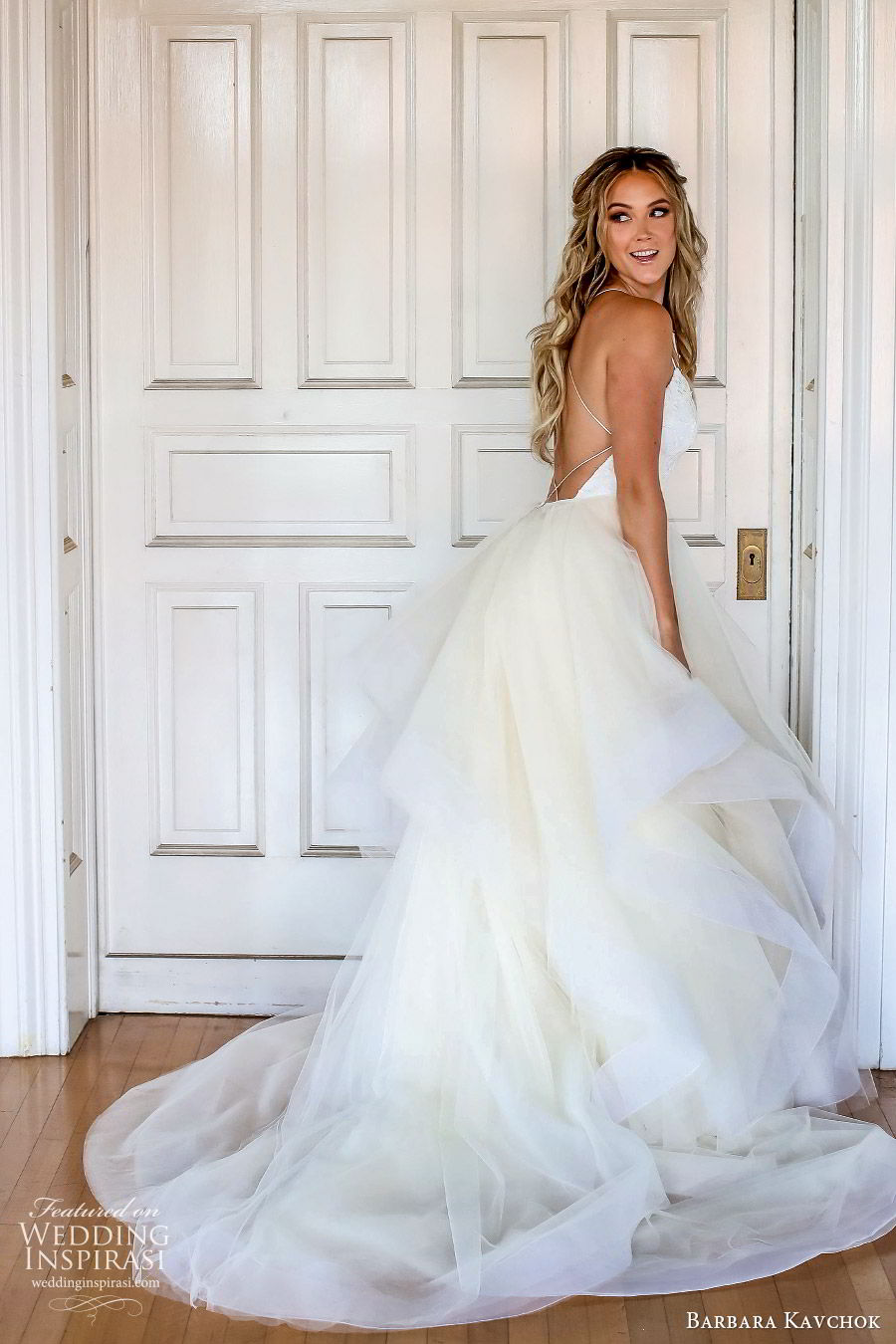 barbara kavchok fall 2019 bridal sleeveless thin straps sweetheart neckline lace sheath wedding dress (9) bv ball tiered gown overskirt chapel train low back elegant romantic