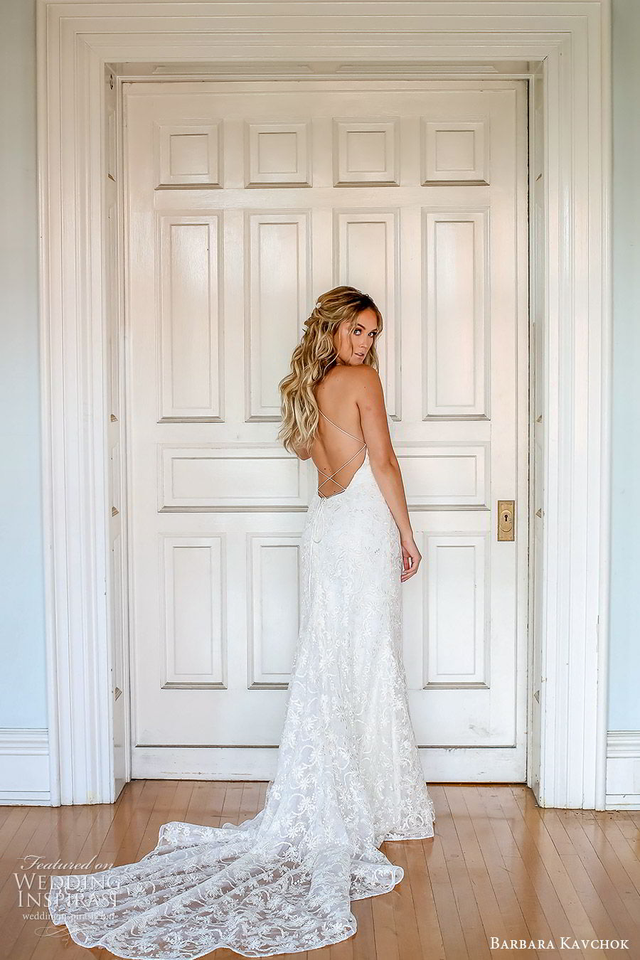 barbara kavchok fall 2019 bridal sleeveless thin straps sweetheart neckline lace sheath wedding dress (9) bv low back boho elegant romantic