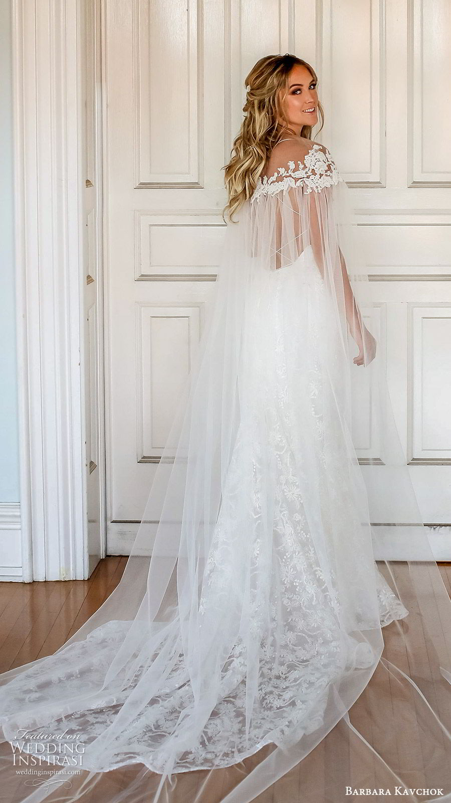 barbara kavchok fall 2019 bridal sleeveless thin straps sweetheart neckline lace sheath wedding dress (9) bv sheer cape low back boho elegant romantic