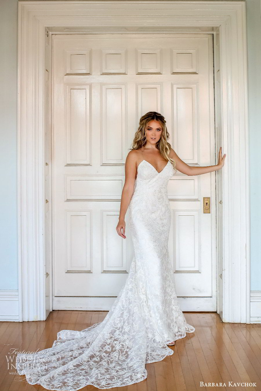 barbara kavchok fall 2019 bridal sleeveless thin straps sweetheart neckline lace sheath wedding dress (9) mv low back boho elegant romantic