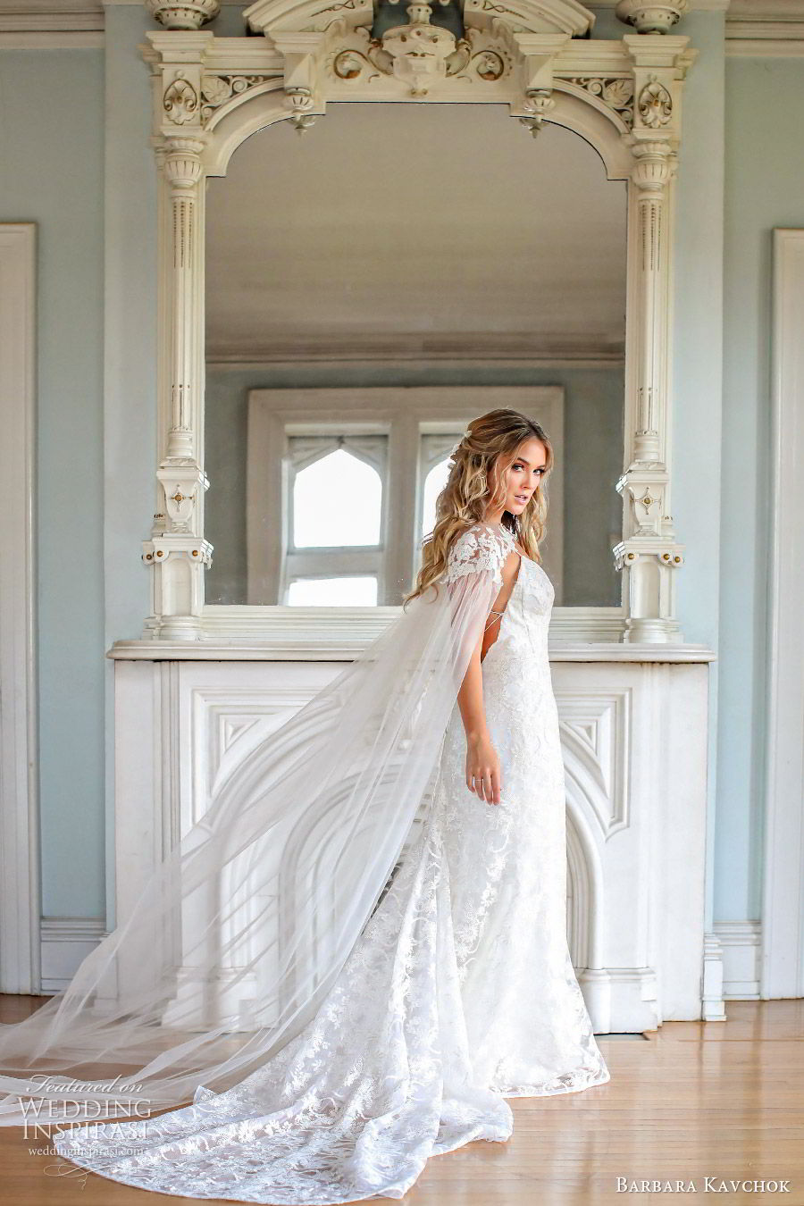 barbara kavchok fall 2019 bridal sleeveless thin straps sweetheart neckline lace sheath wedding dress (9) sv sheer cape low back boho elegant romantic
