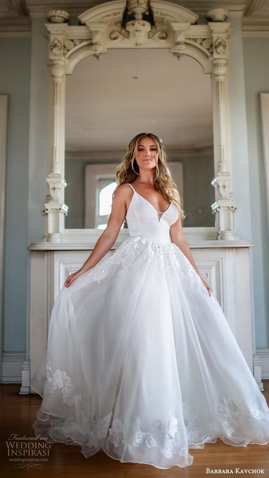 barbara kavchok fall 2019 bridal sleeveless thin straps sweetheart neckline sheath wedding dress (3) mv embellished skirt ball gown overskirt chapel train romantic elegant