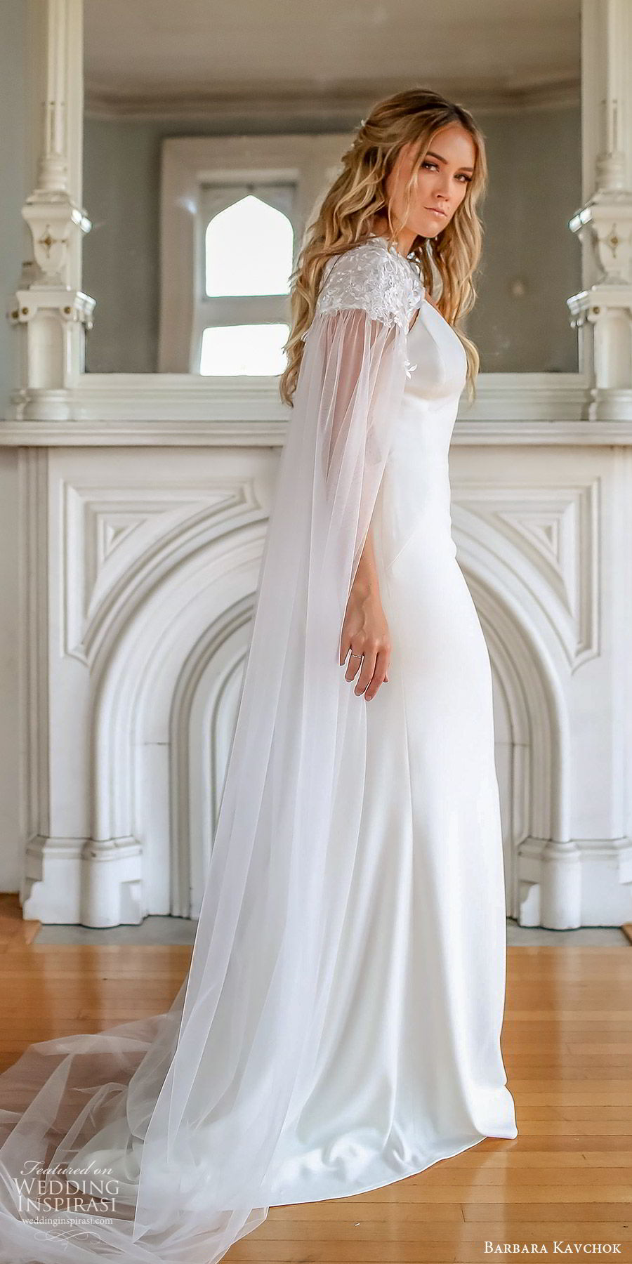 barbara kavchok fall 2019 bridal sleeveless thin straps sweetheart neckline sheath wedding dress (3) sv sheer cape illusion cutout back chapel train minimal chic modern romantic