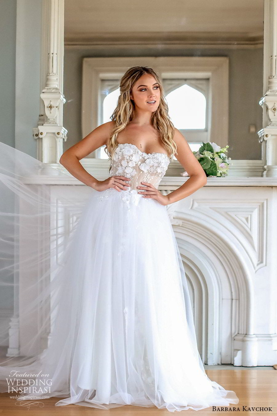 barbara kavchok fall 2019 bridal strapless sweetheart embellished bodice ball gown a line wedding drss (1) mv chapel train elegant romantic