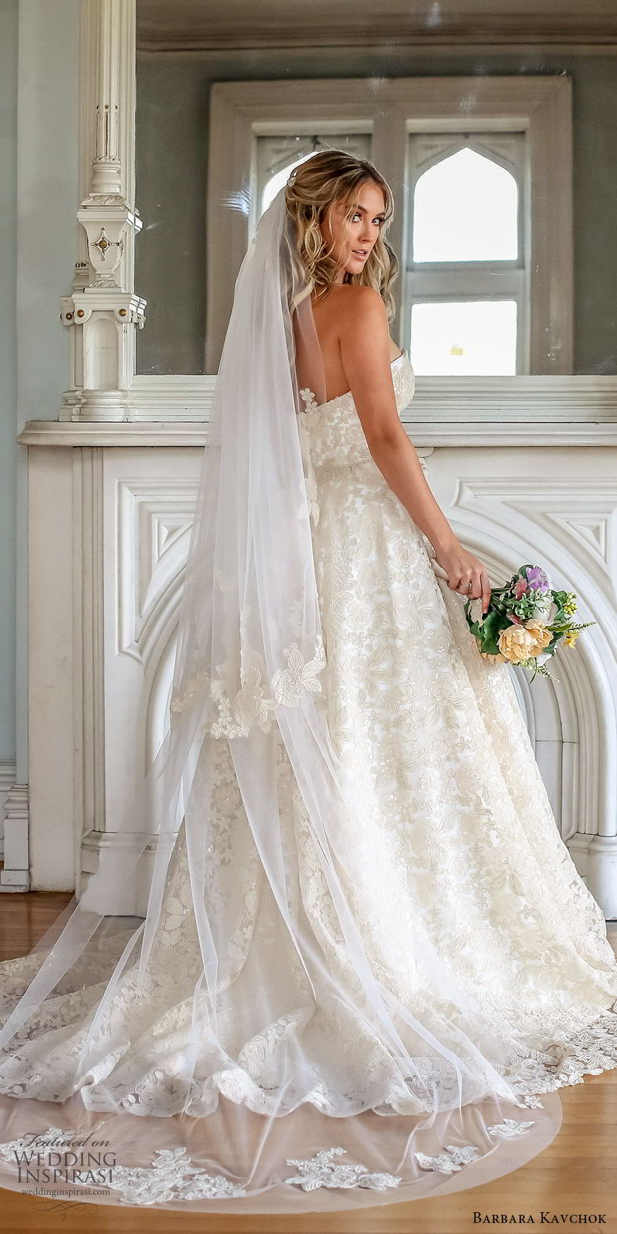 barbara kavchok fall 2019 bridal strapless sweetheart embellished lace ball gown wedding dress (12) zbv chapel train glitzy romantic elegant
