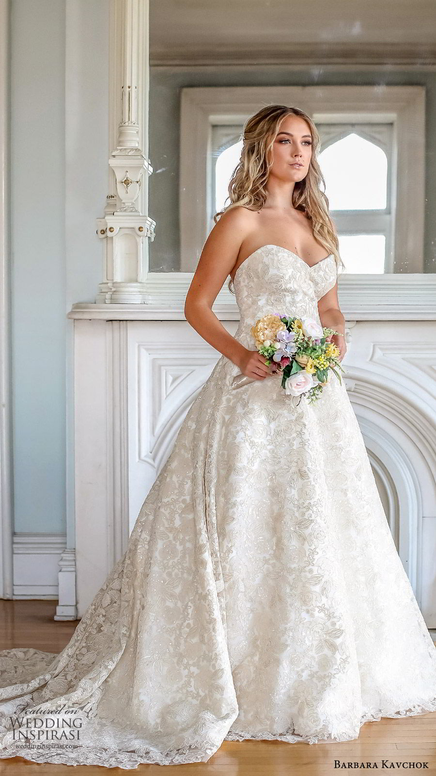 barbara kavchok fall 2019 bridal strapless sweetheart embellished lace ball gown wedding dress (12) zv chapel train glitzy romantic elegant