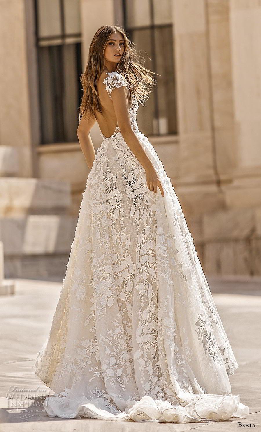 berta fall 2019 bridal cap sleeves deep v neck full embellishment romantic a  line wedding dress backless scoop back chapel train (2) bv