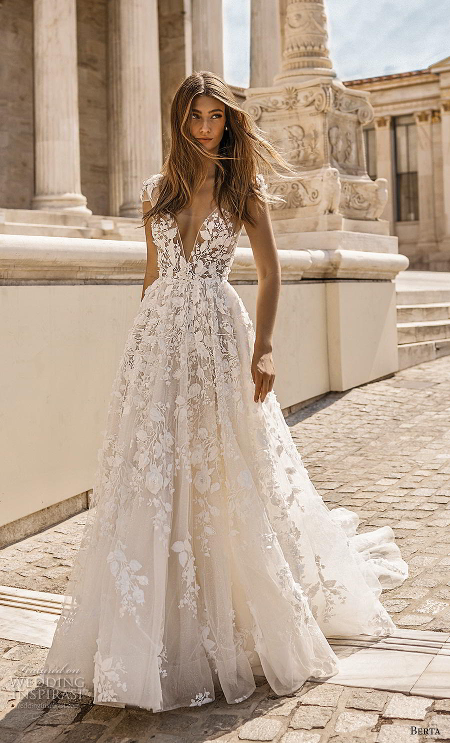 berta fall 2019 bridal cap sleeves deep v neck full embellishment romantic a  line wedding dress backless scoop back chapel train (2) mv