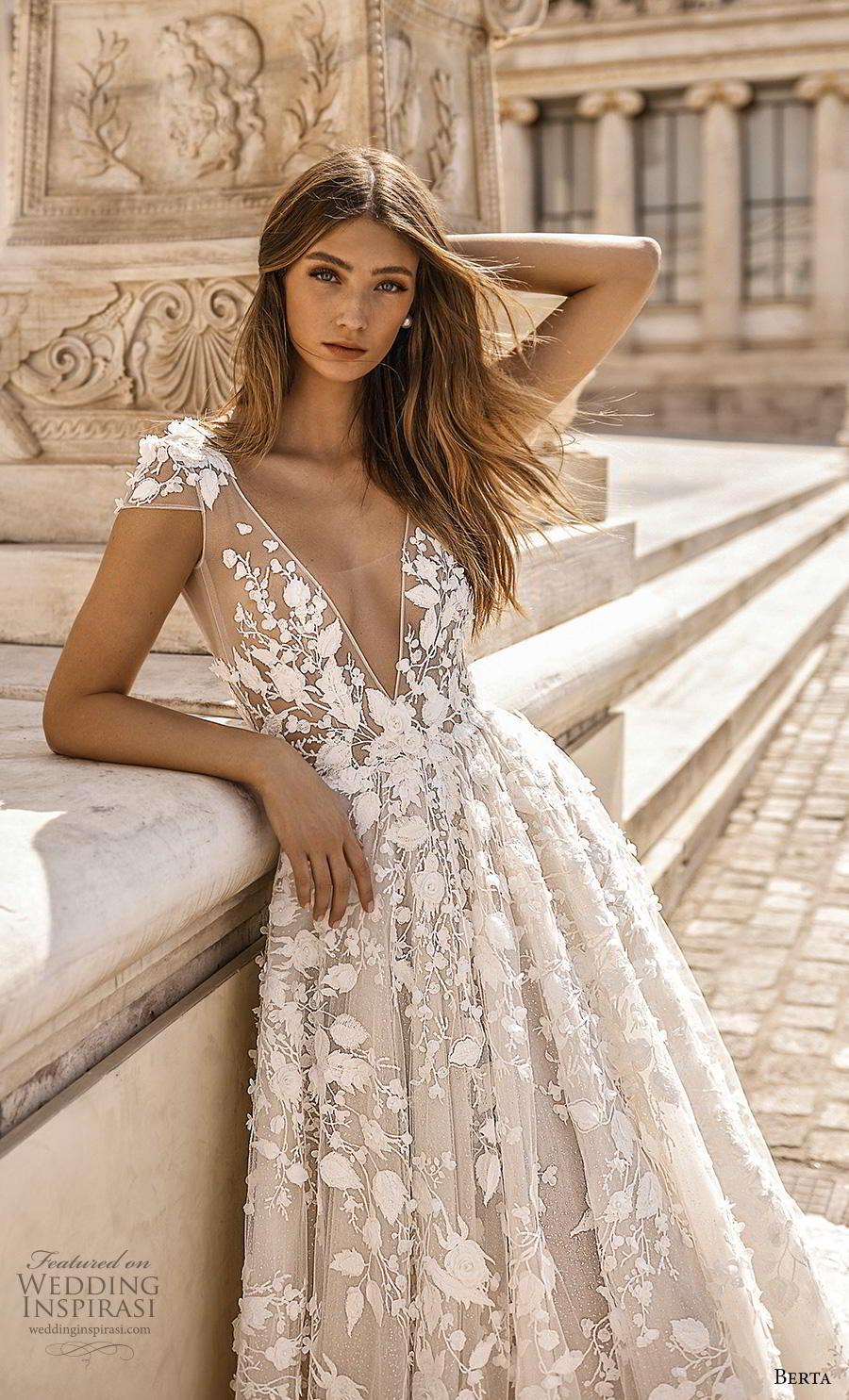 berta fall 2019 bridal cap sleeves deep v neck full embellishment romantic a  line wedding dress backless scoop back chapel train (2) zv