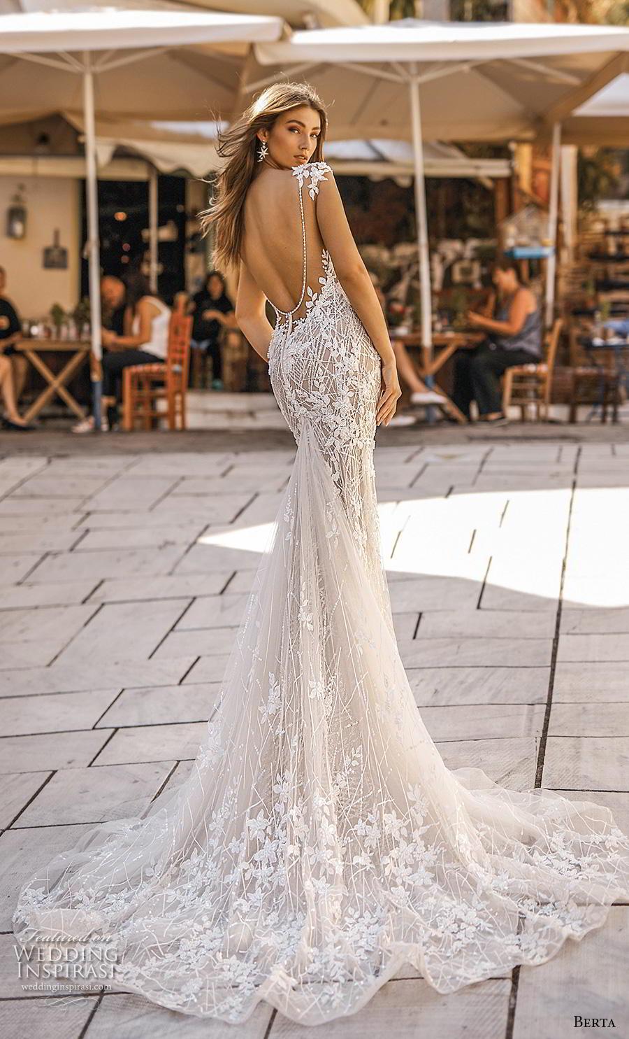 berta fall 2019 bridal cap sleeves deep v neck full embellishment sexy elegant fit and flare wedding dress open scoop back chapel train (18) bv
